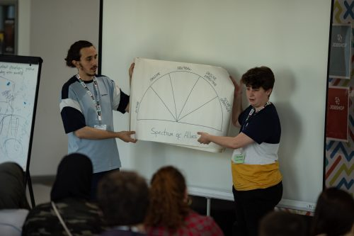 Two standing people hold a while A3 piecce of paper with a semi-circle crawn in the middle. The semi circle is split into 5 sections, and each section is labelled. Beneath the semi-circle, 'Spectrum of Allies' is written. They are holding this infront of others who are seated and have their backs shown in the image.