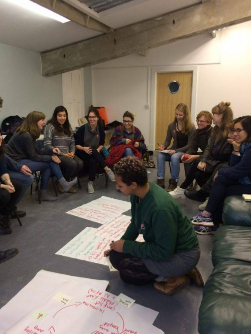 Universities coordinator running a workshop with students in Glasgow