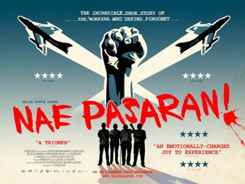 film poster for Nae Pasaran - showing fist in the air with aircraft pointing diagonally either side of the fist. shadow of men standing under the fist with 'Nae Pasaran!' in big red caps stated diagonally across the poster