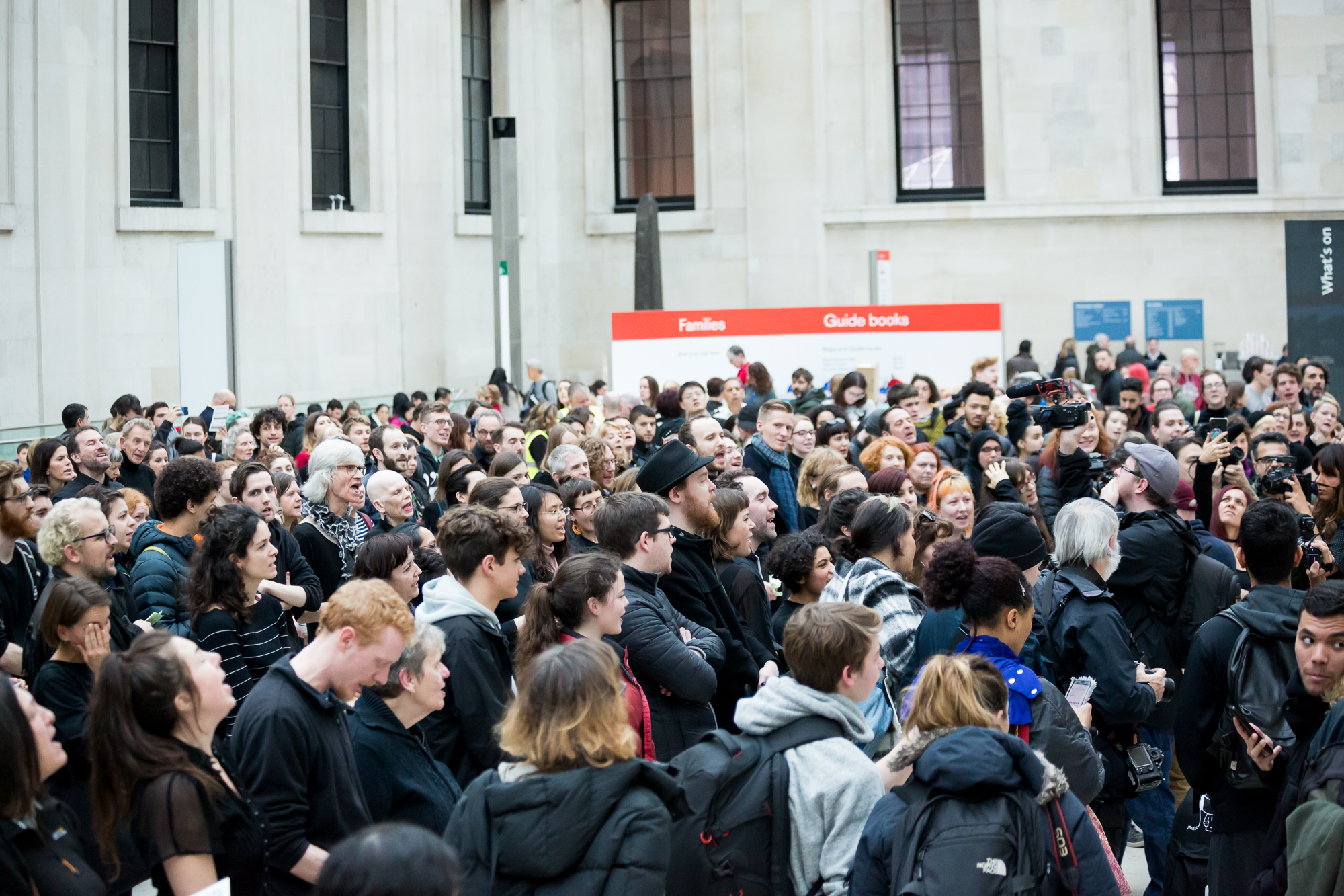 hundreds of protestors gather at the British Museum