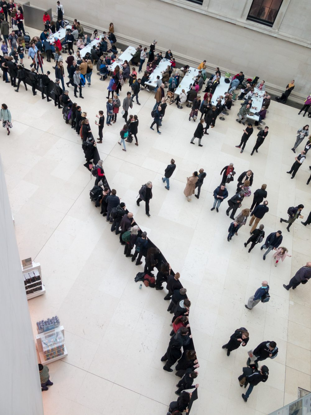 Protestors lined, holding a 200m 'living tapestry' around the rotunda. Photo taken from above