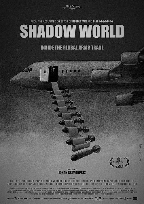 poster of the film 'Shadow World' showing a aircraft with arms falling from it