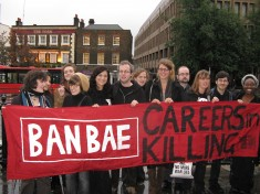 "Universities Network with banner ""BAN BAE - careers in killing"""