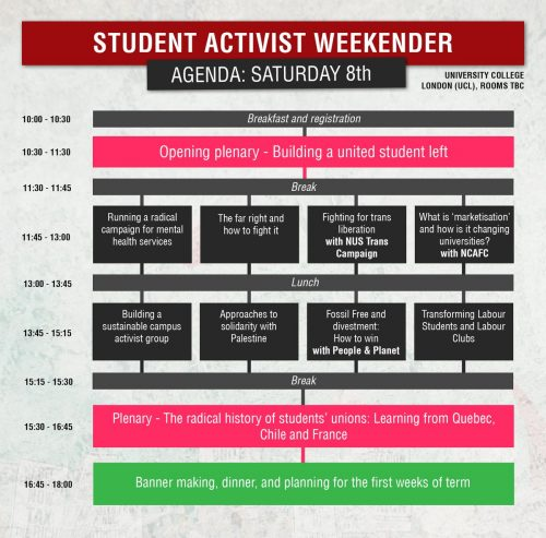 an agenda for the Student Activist Weekender on Saturday showing different activities in different coloured blocks