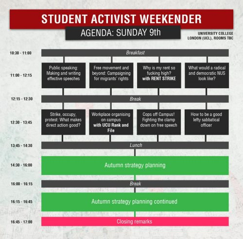 an agenda for the Student Activist Weekender on Sunday showing different activities in different coloured blocks