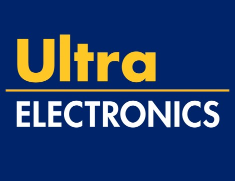 The words 'Ultra Electronics' in yellow and white on a royal blue background.