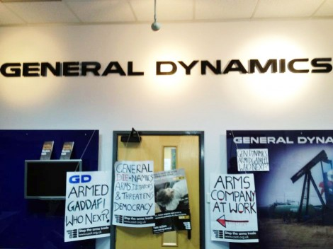 Students add their own banners to the General Dynamics walls